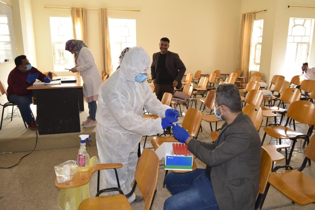 Cooperation between the College of Veterinary Medicine and the Kerbala Health Directorate  to take swabs of students and employees as a tour to detect the infection by Corona virus