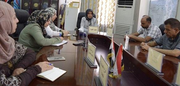 اجتماع السيدة عميد الكلية مع السادة مدراء الشعب في الكلية