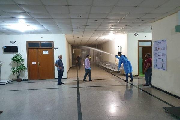 حملة تعفير وتعقيم ضد فايروس كورونا في كلية الطب البيطري بجامعة كربلاء