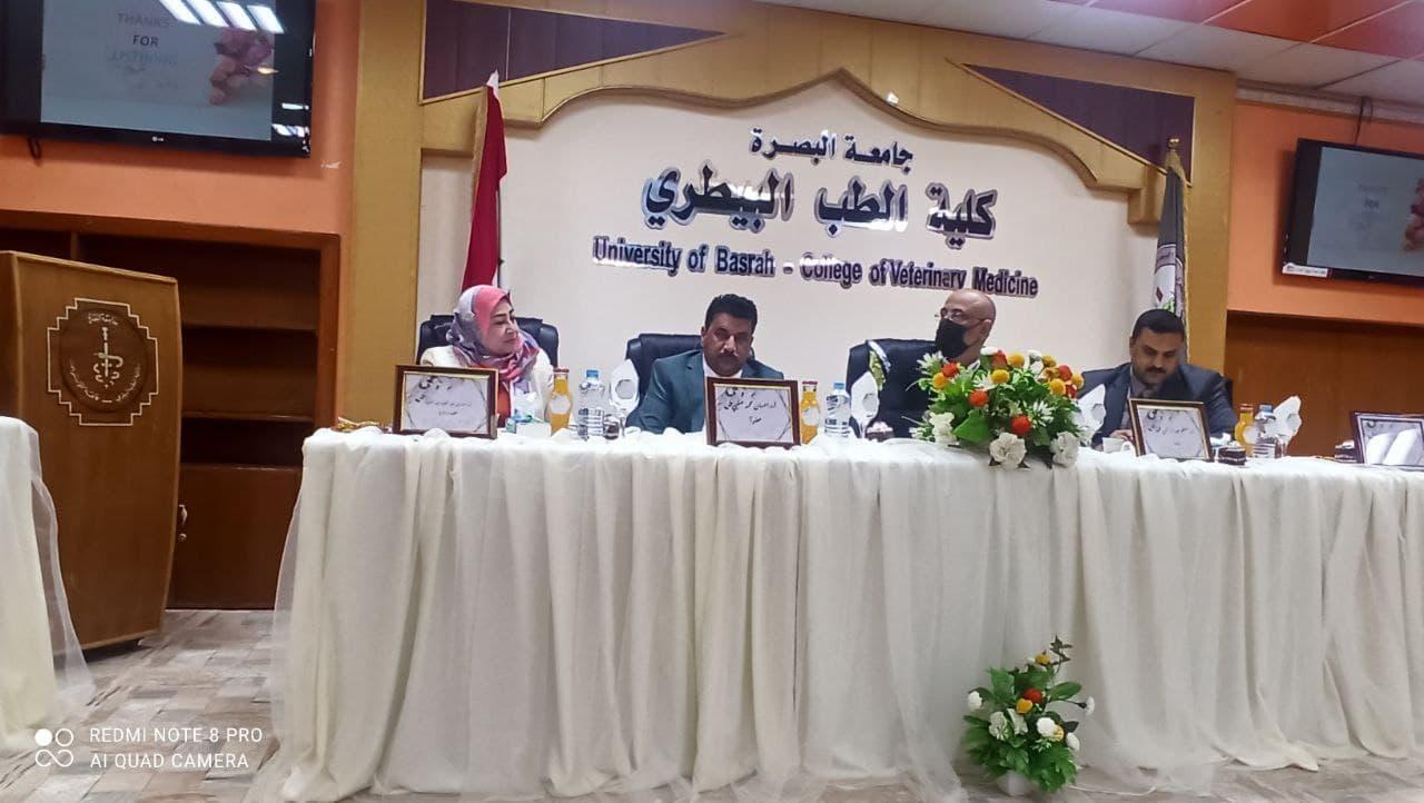 مشاركة تدريسي في كليه الطب البيطري بمناقشة رسالة ماجستير في جامعة البصرة
